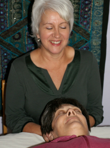 Debra performing Craniosacral Therapy